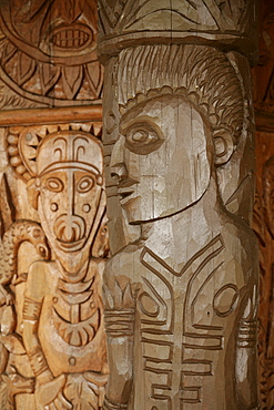 Woodcarvings at the entrance of the university library, Goroka, Papua New Guinea, Melanesia
