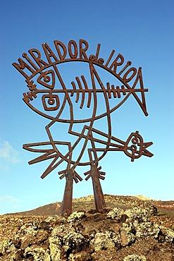 Sculpture in front of Mirador del Rio, Lanzarote, Canary Islands, Spain
