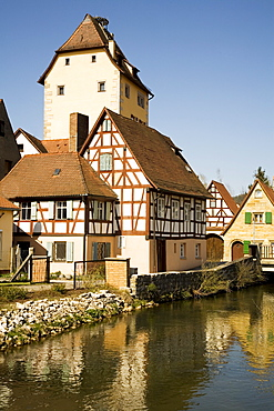 Watergate of Hersbruck at the Pegnitz River, city view, Hersbruck, Upper Franconia, Bavaria, Germany, Europe
