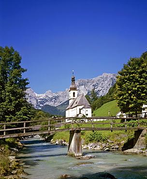 St. Sebastian's Church and Ramsauer Ache River, Ramsau, Berchtesgadener Land region, Upper Bavaria, Bavaria, Germany, Europe