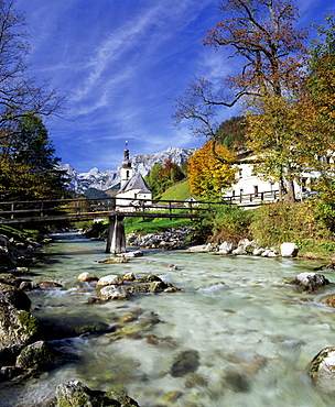 St. Sebastian's Church and Ramsauer Ache River in autumn, Ramsau, Berchtesgadener Land region, Upper Bavaria, Bavaria, Germany, Europe
