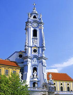 Stiftskirche Duernstein (Baroque monastery), Danube, Wachau, Lower Austria, Austria, Europe