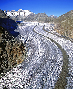 Aletsch Glacier, Jungfrau region, Aletsch, UNESCO World Heritage Site, Bernese Alps, Valais, Switzerland, Europe
