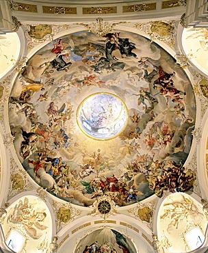 Karlskirche Church near Volders, dome, ceiling fresco, Innsbruck-Land, Inn valley, Tyrol, Austria
