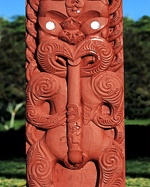 Maori wood carvings, Rotorua, North Island, New Zealand