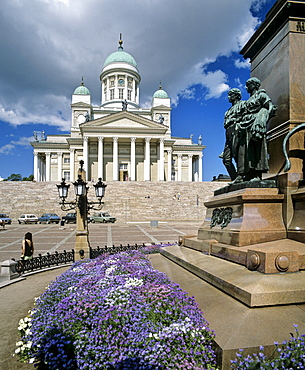 Helsinki Cathedral, Protestant church, memorial statue of Alexander II., Senate Square, Helsinki, Finland
