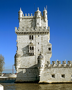 Torre de Belem, built 1515, lighthouse built in the Manueline or Portuguese late Gothic style, mouth of the Tagus River, Lisbon, Portugal