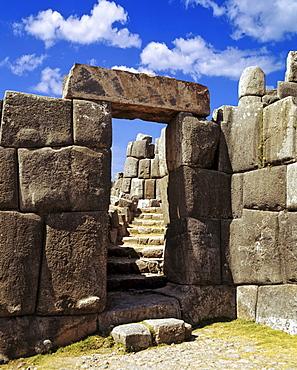 Entrance to Sacsayhuaman or Saksaq Waman Inca or Incan mountain fortress near Cusco, Peru, South America