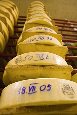 Gstaad, Che, 23.07.2006: Cheese maturing storage of the dairy Gstaad.