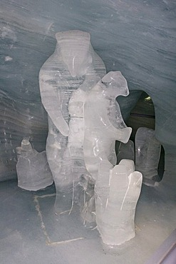 Ice sculpture of ice bears in the Ice Palace, Jungfraujoch, Bernese Oberland, Switzerland
