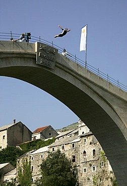 Bridge Jump Festival, traditional jump from the Stari Most Bridge into the River Neretva, Mostar, Bosnia and Herzegovina