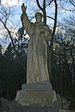 Statue of St. Francis on the Apollinaris mountain near Remagen
