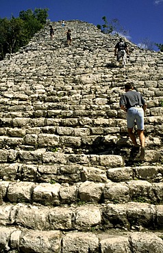 Stairs to the top of the Nohoch-Mul pyramid, Coba, Mexico, North America