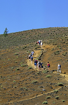 A group of hikers on the ruta de los volcanes, La Palma, Canary Islands, Spain