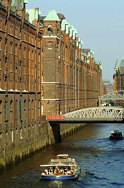 The Speicherstadt, an ancient brick-built warehouse complex, port of Hamburg, Hamburg, Germany