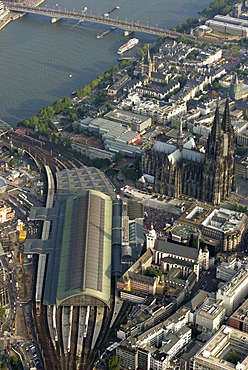 DEU, Germany, Cologne : Areal View of the city center. Cathedral. Main railway station. River Rhine. |