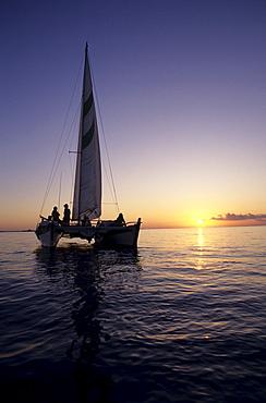"""Sailing trip with the catamaran """"Beluga"""" sunset Turks and Caicos Islands Bahamas Caribbean"""