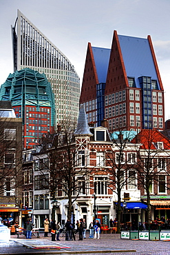 Plein Square, business district skyline contrasted with historical architecture in city centre, The Hague, The Netherlands, Europe