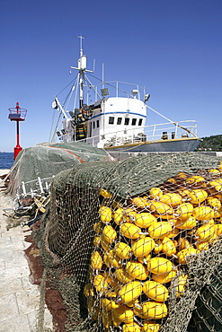 "Sardine fishing boat ""Jastreb, "" based in Kali on Ugljan Island, off of Pag Island in the Adriatic, Croatia, Europe"