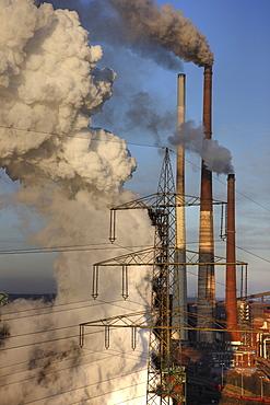 Smokestacks, cooling towers, ThyssenKrupp Steelworks Hamborn, Schwelgern, Duisburg, North Rhine-Westphalia, Germany, Europe