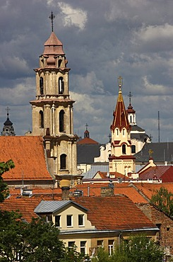 City panorama with churchs, Vilnius, Lithuania, Baltic States, Northeastern Europe
