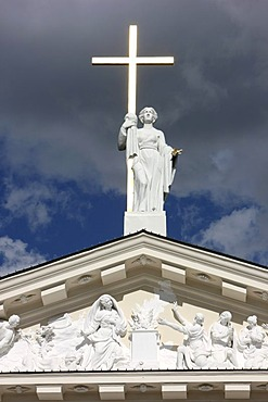Statue bearing a cross on St. Stanislaus Cathedral, Vilnius, Lithuania, Baltic States, Northeastern Europe