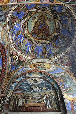 Wall and ceilign painting in orthodox Rila cloister in the Rila mountains, Bulgaria