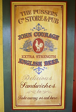 English beer advertising in a pub, British Virgin Islands