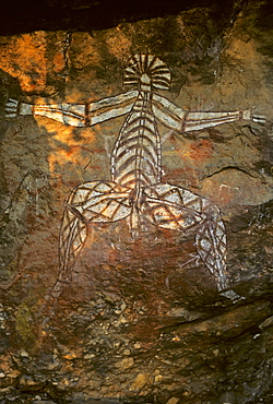 Dangerous ghost, rock painting of the Aborigenis on the Nourlangie Rock, Kakadu National Park, Northern Territory, Australia