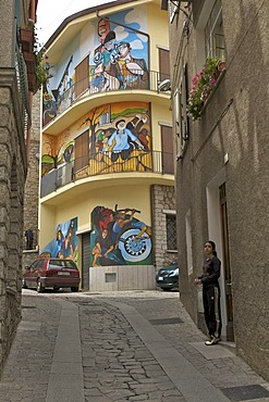 Alley with political murals, Orgosolo, Sardinia, Italy, Europe