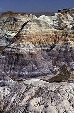 USA, United States of America, Arizona: Petrified Forest National Park. Park with bizarre erosion landscape, Painted Desert area and petrified trees.. Navajo Indian Reservation.