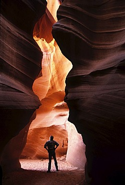 USA, United States of America, Arizona: Antelope Canyon, bizarre sandstone formation, washed out by water, corkscrew slot canyon on the Navajo Indian Reservation.
