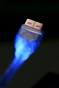 DEU, Germany : USB cable, USB plug to a personal computer. USB 2.0 higspeed connection.