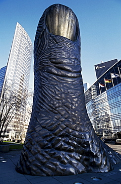 "Metal sculpture, ""Le Puce"" designed by sculptor Cesar Baldaccini, La Defence business district, Paris, France, Europe"