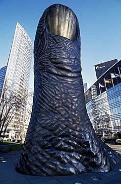 """Metal sculpture, """"Le Puce"""" designed by sculptor Cesar Baldaccini, La Defence business district, Paris, France, Europe"""
