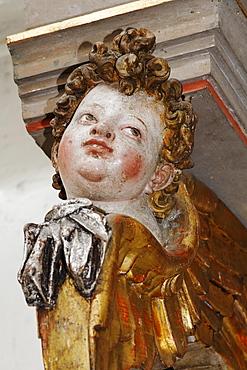 Cherub on altar of Heiligkreuztal Cathedral, Riedlin, Baden-Wuerttemberg, Germany, Europe