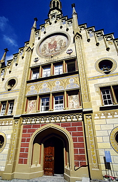 Ornate neo-Gothic facade, Hospital of the Holy Spirit, Bad Waldsee, Upper Swabia, Baden-Wuerttemberg, Germany, Europe