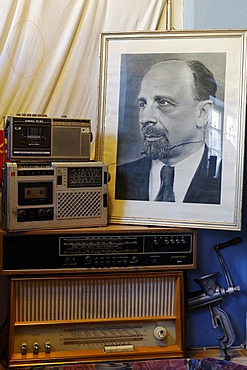 Photograph of Walter Ulbricht and old East German radios as decoration in the ostalgie tavern Zur Molle, Seebad Bansin, Usedom Island, Mecklenburg-Western Pomerania, Germany, Europe