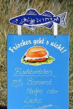 Advert offering fish sandwiches, Bansin resort, Usedom Island, Baltic Sea, Mecklenburg-Western Pomerania, Germany, Europe