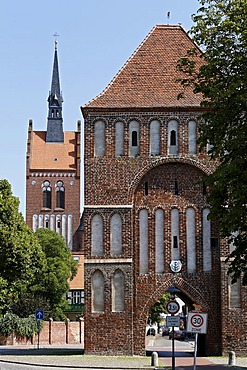Anklam Gate and Marienkirche Church, Usedom town, Mecklenburg-Western Pomerania, Baltic Sea, Germany, Europe