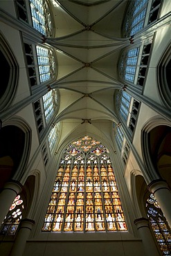 West window at the cathedral of Altenberg, NRW, Germany