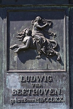 Beethoven monument, woman rides a human lioness, mythological relief, Bonn, NRW, Germany