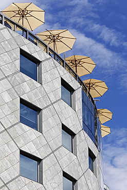 Sunshades of the cafe at the top of the Haashaus, Stephansplatz, Vienna, Austria