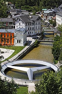 Mercedes bridge marking the center of Austria, Bad Aussee, Salzkammergut, Styria, Austria