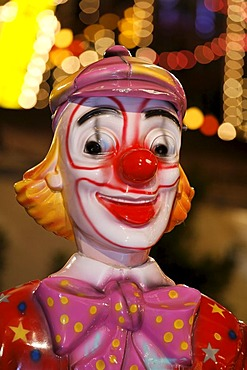 Figure of a clown, merry-go-round, Rhine funfair, Duesseldorf, NRW, Germany