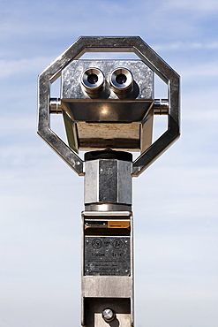 Modern coin telescope, observation terrace, airport Duesseldorf, NRW, Germany