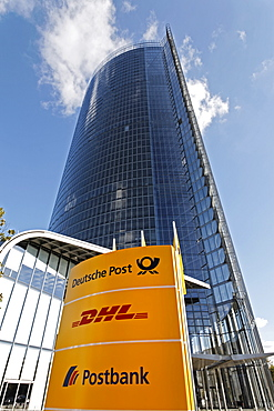 Board with company logos in front of the Post Tower, Bonn, NRW, Germany,