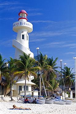Lighthouse on the Playa del Carmen Beach along the Riviera Maya, Yucatan, Mexico, North America