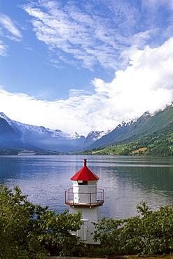 Lighthouse on Northfjord, Norway, Scandinavia, Europe