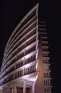 Illuminated building at Hanseatic Trade Center HTC at Hafencity Hamburg Germany